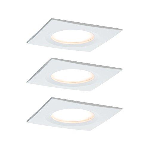 Paulmann 938.89 Premium EBL Set Coin Slim dimmbar eckig starr LED 3x6,8W 2700K 230V 51mm Weiss matt/Alu 93889 Spot Einbaustrahler Einbuleuchte (3 Coin Set)