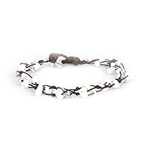 MGD – Weiß Howlith Perlen Fußkettchen – Edelstein Fußkettchen – Schöne Handgemachte Mode Schmuck für Damen – Kinder und Jugendliche – JB-0160A