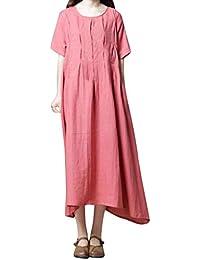 Sylar Vestidos Mujer, Vestido Casual De Color SóLido con Cuello Redondo De Manga Corta para