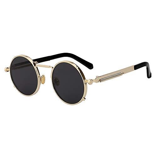 WJFDSGYG Runder Kreis Steampunk Sonnenbrille Männer Frauen Sonnenbrille Design Spiegel Objektiv Brillen Uv400