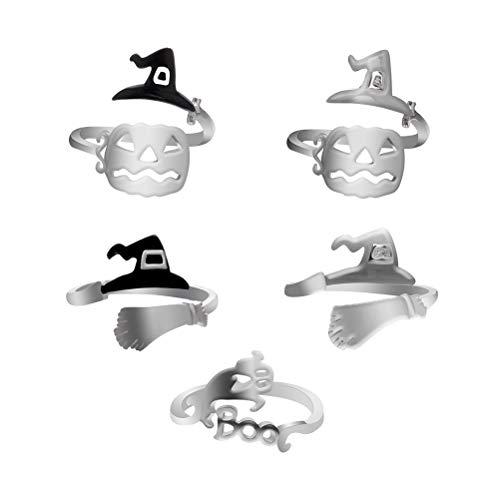 TENDYCOCO 5 Stücke Kreative Kürbis Hexe Hüte Geist Ring Einstellbare Legierung Fingerring für Süßes oder Saures Halloween Party Cosplay