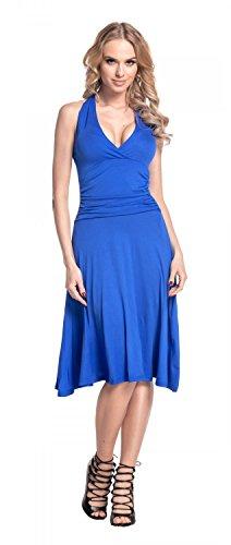 Glamour Empire. Femme Robe patineuse sans manches décolleté cache-coeur. 145 Bleu Royal