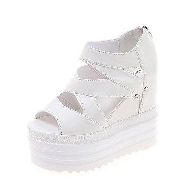 LvYuan Damen-Sandalen-Kleid Lässig-PU-Keilabsatz-Komfort-Schwarz Weiß Silber Black