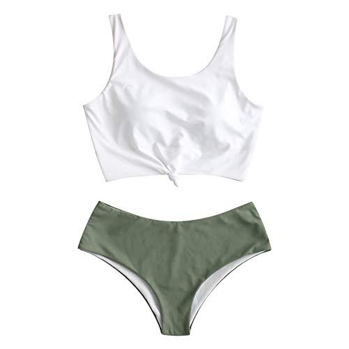 ZAFUL Damen Sommer Gepolstert Gurt Bikini Set Beachwear Grün S