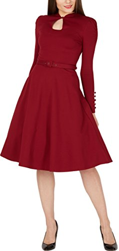 BlackButterfly 'Megan' Vintage Clarity Pin-up-Kleid Burgunderrot