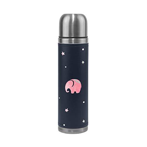 Botella de agua con diseño de elefantes de color rosa y gris,...
