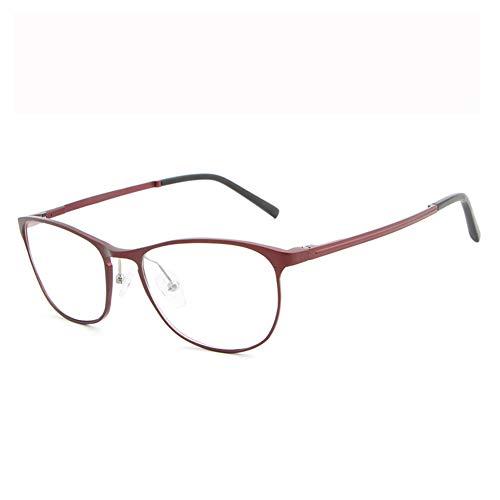 Blaulicht-Schutzbrille Hipster Metallrahmen Leichte UV-Filterlinse, Classic Round für Männer Frauen Anti-Augenbelastung Anti-Blue Ray-Lesebrille für Computer-red