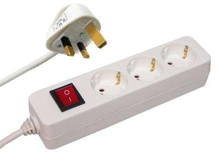 - 31Ss2RcevKL - UK auf EU Tischsteckdose Mehrfachsteckdose Steckdosenleiste 3-fach weiß mit Schalter