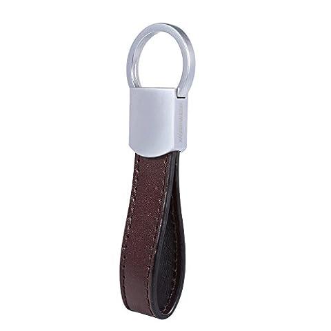 Italian Leather Keychain - 4 Premium Keyrings - Elegant Packaging - Earphone Holder included - by Kasper Maison