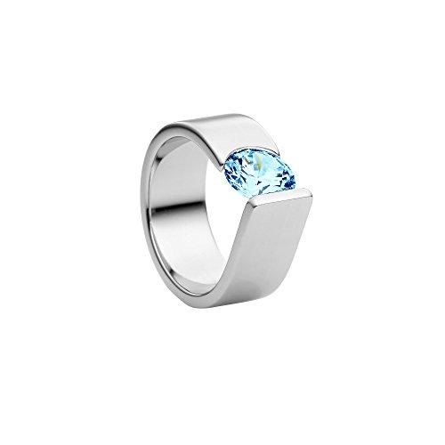 Heideman Damen-Ring maxime xl poliert Gr.50 mit Swarovski Stein im Brillantschliff sky blue 7mm Solitärring Verlobungsring Ringe mit Stein als Spannring gearbeitet...