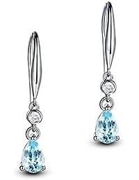 746a47e9486b Epinki Plata de ley 925 Pendientes Gotas Lágrima Mujeres Semental Purpurina  Aretes Blanco Oro con Azul