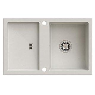 Granitspüle Küchenspüle Einbauspüle Granit inkl. Drehexcenter, Ablaufgarnitur Reversibel 80er Spülenunterschrank (AXIS CAFFEE LATTE)