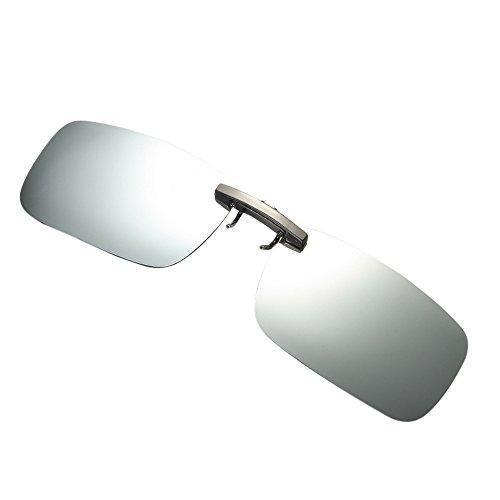 jgashf VorhäNger Brille Clip On Sonnenbrillen VorhäNger Brille Aufsatz Clip On Polarisiert FüR BrillenträGer-Stil Sonnenbrille FüR Myopie Brille Freien/Fahren/Angeln-Anti-Uv (Silber)