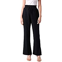 ANGGREK Pantalones de Lino Mujer Elástico Yoga con Bolsillo cordón Tallas Grandes
