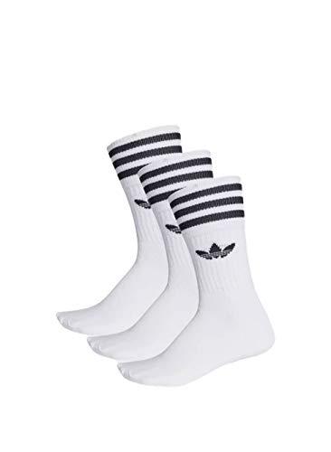 Adidas Socken Dreierpack - SOLID CREW SOCK S21489 - White-Black, Size:39/42 (Crew Socken Skate)