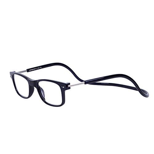 Magnéticas Gafas de lectura Plegables Negro +2.0 QIXU Presbicia Vista para Hombre y Mujer Montura Regulable Colgar del Cuello y Cierre con Imán +2.0(55-59 años)