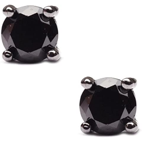 5mm rotondo orecchini a perno in strass ematite tono rst-he7