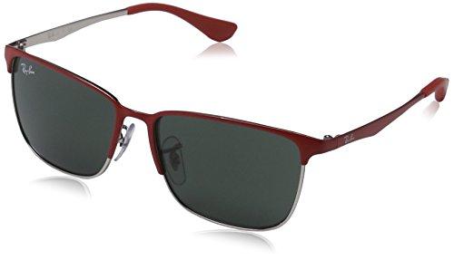 Ray-Ban Unisex Sonnenbrille RJ9535S, Mehrfarbig (Gestell: Vorderseite rot, Rückseite Silber Glas: grün 245/71), Small (Herstellergröße: 51)