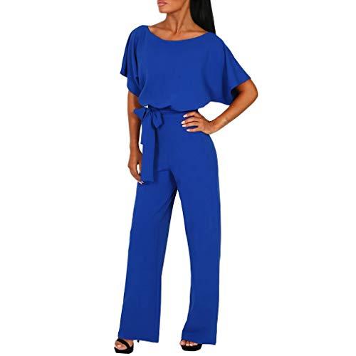 Damen Jumpsuit Sommer,Elegant Lang Weites Bein Hohe Taille Kurzarm Overalls Einfarbiger Hose Esprit Hosenanzug Mit GüRtel (M, Blau) -