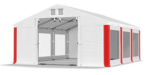 Das Company Transparente Fenster Partyzelt mit Bodenrahmen und Dachverstärkung 4x6m wasserdicht weiß-rot Zelt 580g/m² PVC Plane Robust Gartenzelt Summer Plus SD