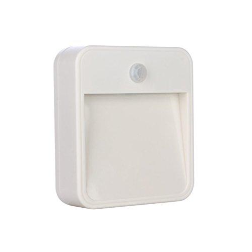 Square-batterie (LEDMOMO Sensor Nachtlicht mit Batterie Square Bewegungsmelder Wandleuchte für Flur, Keller, Garage, Badezimmmer (weißes Licht))