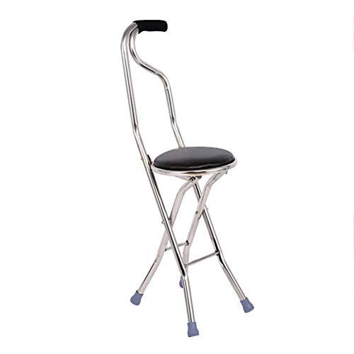 Falten Lightweight Gehstock Mit Sitz ältere Menschen Vierbeinigen Gehstock Mit Sitzgelegenheit Hocker Krücke Stuhl-Schwarz