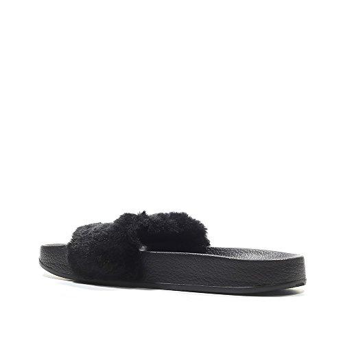 Brand New Rihanna Fenty X Puma Fur Diapositives 3662266-03 Black