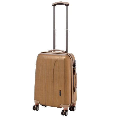 March 15 Trading New Carat Valise cabine à roulettes 4 roues 53 cm Jaune/noir gold brushed s