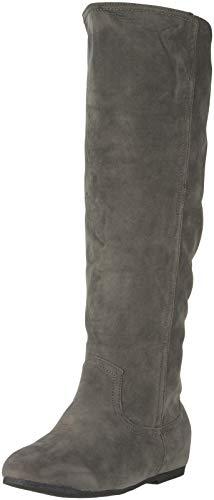 Queen Tina Damen Stiefel | Warm Gefüttert | Bequeme Langschaft Boots | Flache Zipper QS195-A-Grau-41