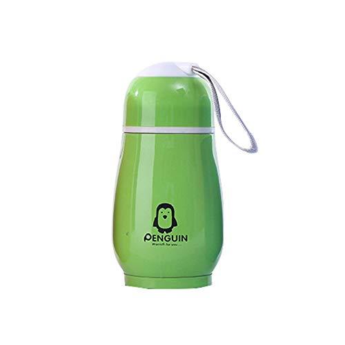 Panamami Kawaii Forme de Pingouin Mignon culbuteur en Acier Inoxydable Tasse isolée Tasse à café Tasse à thé Tasse à Eau Voyage Bouteille de Thermos - Vert