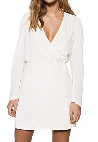 IVYREVEL Damen Woven Wrap Mini Dress Kleid, Elfenbein (Offwhite 090), 38 (Herstellergröße: 40) - Cross-front Mini Dress