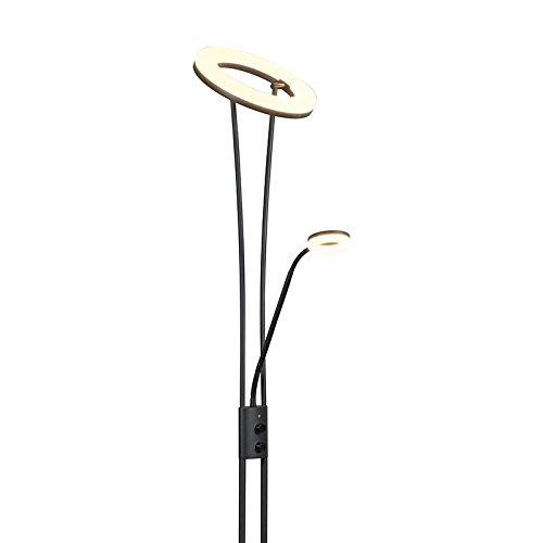 QAZQA Modern Stehleuchte / Stehlampe / Standleuchte schwarz Dimmer