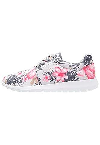 Sneaker Damen Turnschuhe Low in Grau mit Blumenmuster, Größe 42