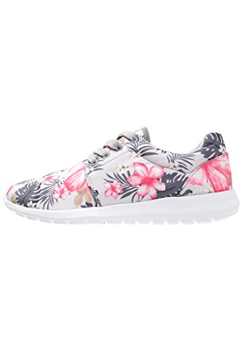 Sneaker Damen Turnschuhe Low in Grau mit Blumenmuster, Größe 41