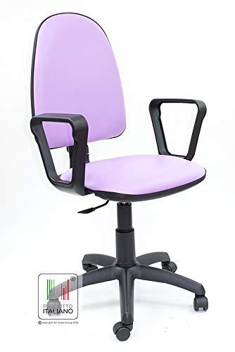 Sedia da scrivania con rotelle girevole per ufficio e cameretta in ecopelle  lilla