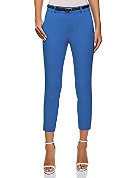 oodji Ultra Mujer Pantalones Clásicos con Cinturón