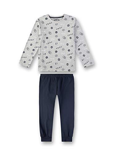 Sanetta Jungen Pyjama Zweiteiliger Schlafanzug, Grau (Silver Mel. 1560), (Herstellergröße: 128)