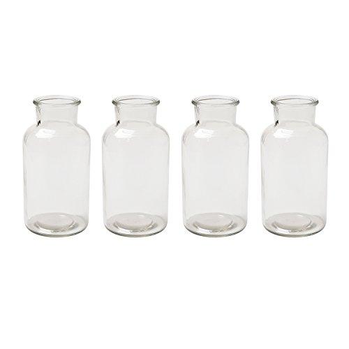 Jodeco Glasflasche Vase Apothekerflasche Servierflasche, ca. Ø 8 cm, H 16 cm, 550 ml, 4 Stück