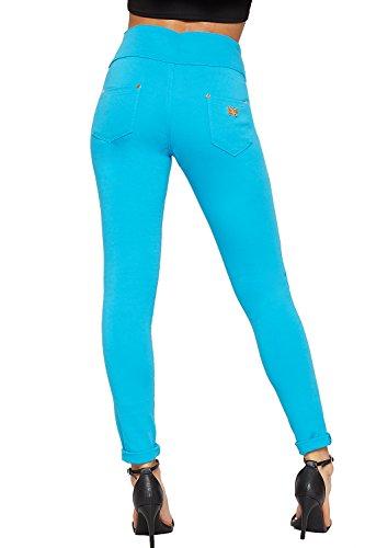 WEARALL - Femmes Élevé Taille Maigre Jambe Étendue Jeans Dames 3 Bouton Fermeture Éclair Pantalon Pantalon - 36-44 Turquoise
