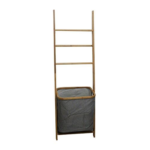 Der Schwarze Mann Bad Handtuchleiter Bambus 42x33x139cm Handtücher Handtuchhalter Handtuchständer