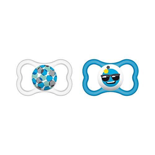 MAM Air Silikon Schnuller im 2er-Set, extra leichtes und luftiges Schilddesign, Baby Schnuller aus speziellem MAM SkinSoft Silikon mit Schnullerbox, 6-16 Monate, blau