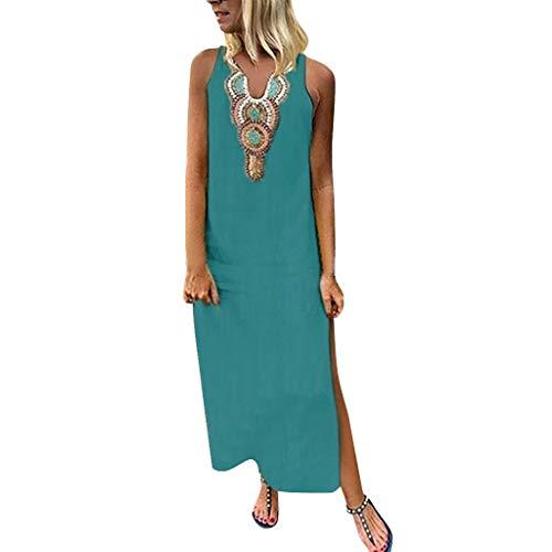 Overdose Damen Freizeit Kleider Leinenkleider 1/2 Ärmel Rundhals Einfarbig Casual Urlaub Sommerkleider Strandkleid Midi Dress Frauen kostüme übergröße (EU 42/CN XL, (Indische Tumblr Kostüm)