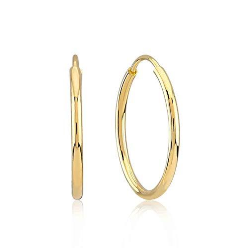 Damen Ohrringe 14 Karat - 585 Echtgold, Creolen, Gelbgold, Breit 1.6 mm Außendurchmesser 20 mm, Gewicht 1.2 gr Geschenk für Valentinstag Geburstag