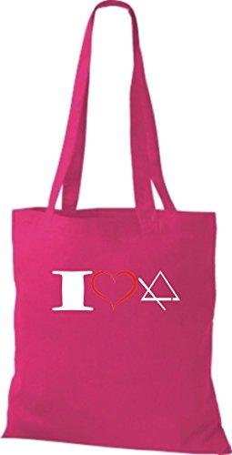 Shirtstown Stoffbeutel Musik I love Triangel Triangle pink
