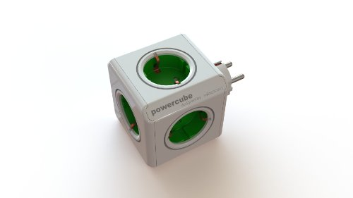 Allocacoc PowerCube - Enchufe de red con 5 tomas, verde