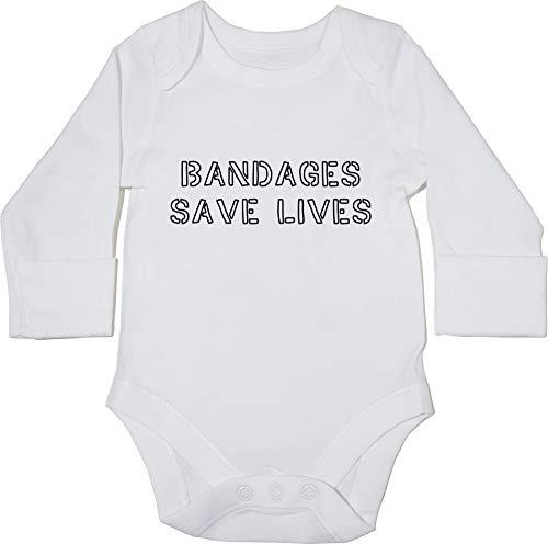 HippoWarehouse Bandages Save Lives Body Manga Larga Bodys Pijama niños  niñas Unisex