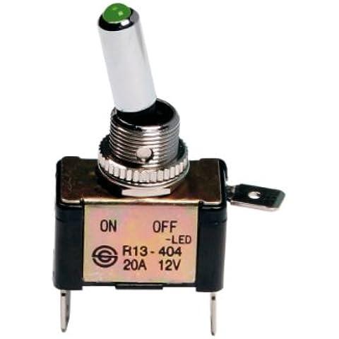 Interruttore a leva 2 contatti auto tuning LED VERDE 12V 20A Pilot
