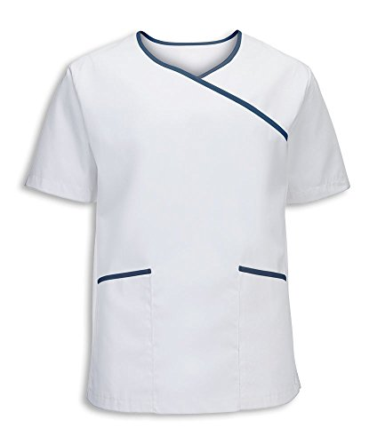 Alexandra stc-nm43wn-xxl Herren Stretch Scrub Top, Uni, 67% Polyester/33% Baumwolle, Größe: 2X Große, weiß/marineblau (Top Scrubs 2 X)