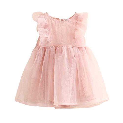 KIMODO Kleinkind Baby Mädchen Einfarbig Bogen-Rüsche Kleid Urlaub Ärmellos Sommer Tüllkleid Prinzessin Outfit Kleidung