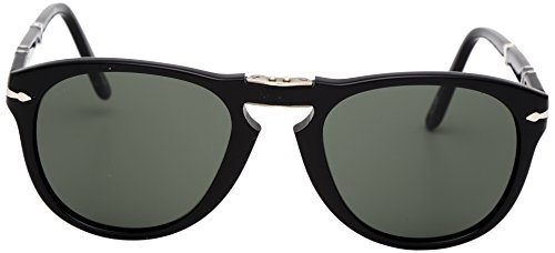 Persol Unisex Icons Sonnenbrille, Schwarz (Gestell: Black Glas: Grey 95/31), Small (Herstellergröße: 52)